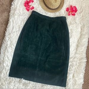 Vintage Comint Forest Green Suede Genuine Leather High Rise Skirt